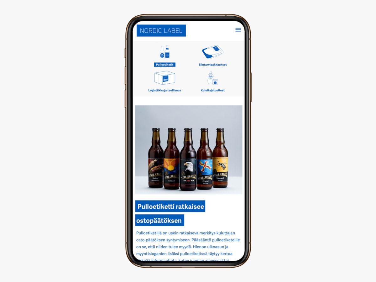 Nordic Label mobiilinäkymä