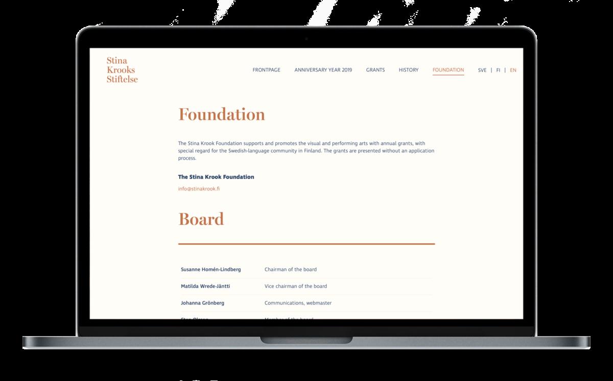 Stina Krook verkkosivuston desktop-näkymä