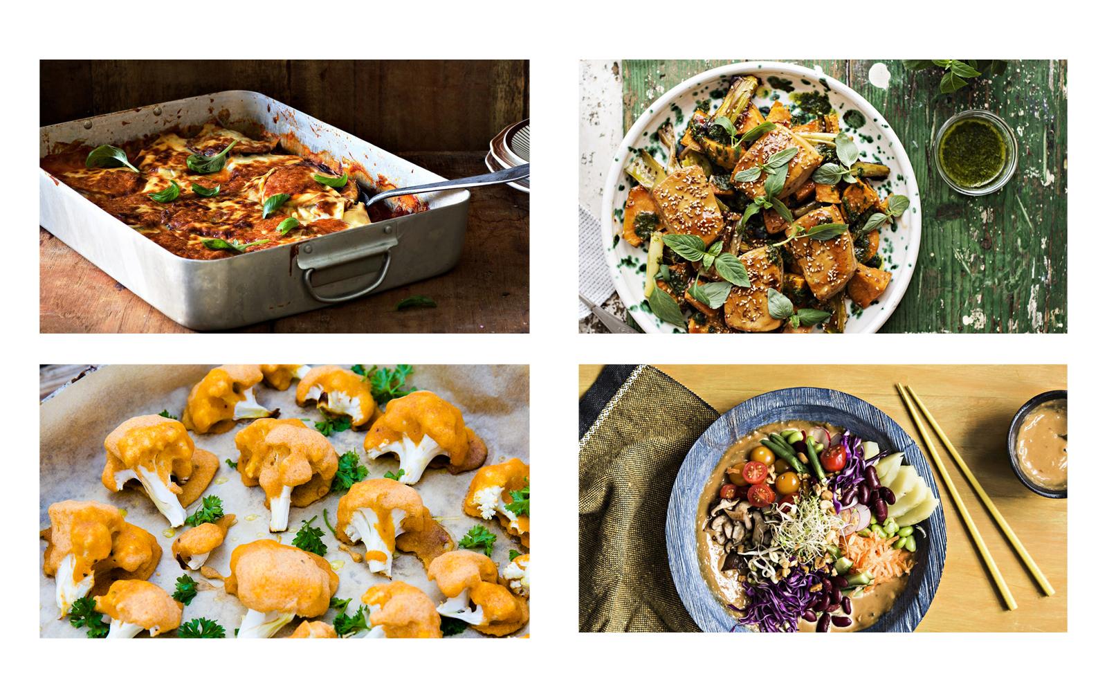 Vennerin keittiössä reseptien kasvisruoka ateriakuvia.