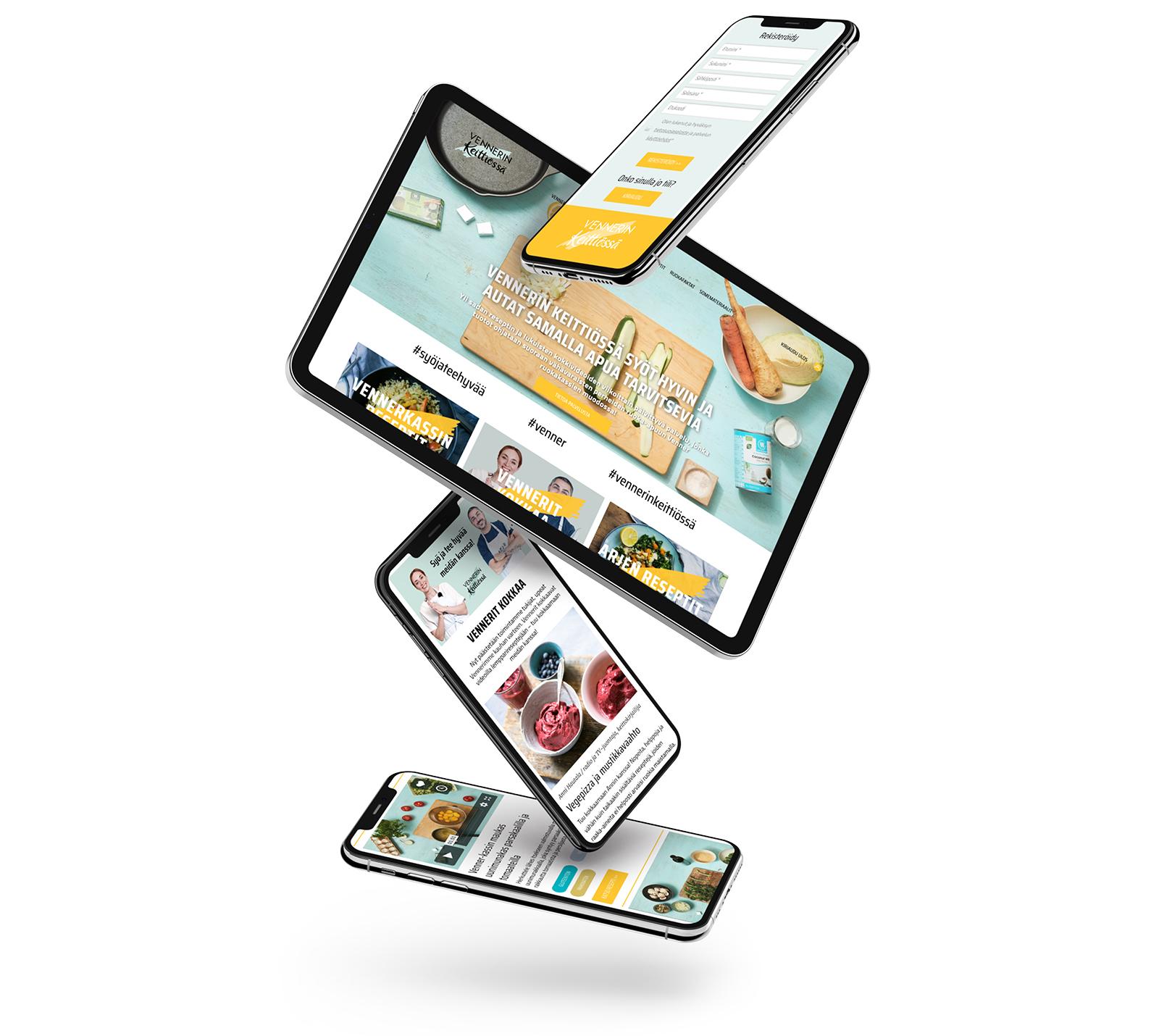 Mobiili- ja iPadnäkymiä Vennerin keittiössä -palvelusta.