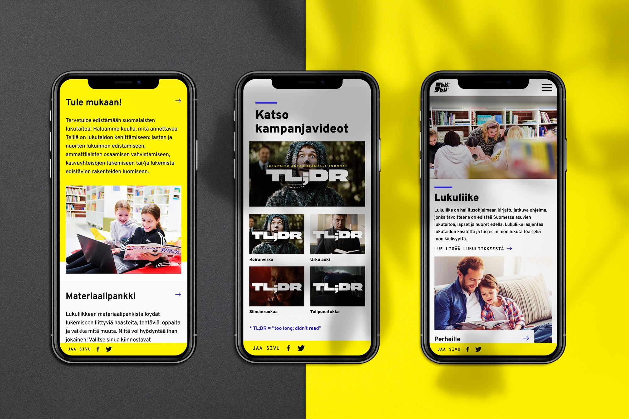 Lukuliike verkkosivuston mobiilinäkymiä