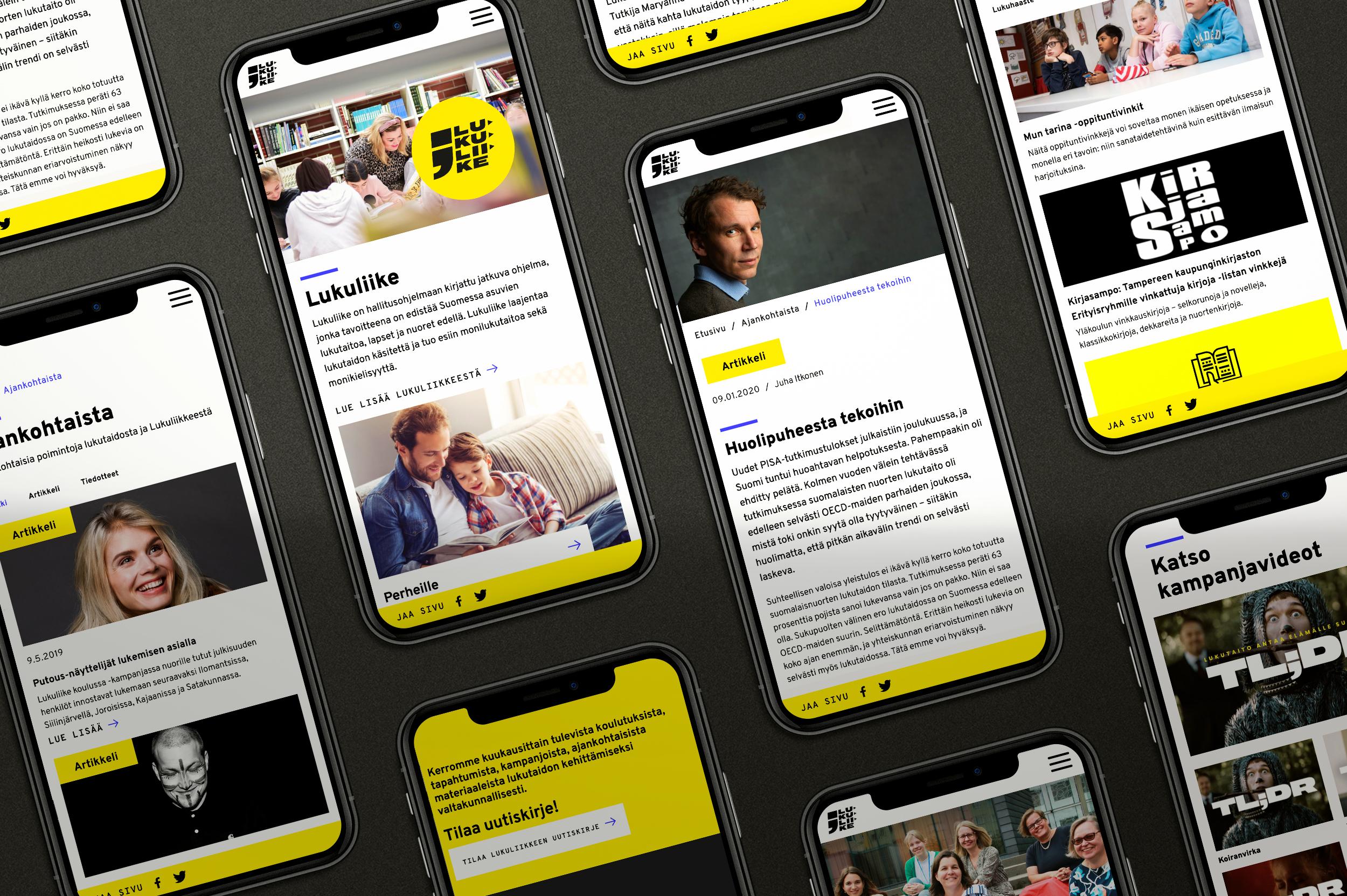 Lukuliike-sivuston mobiilinäkymiä iphonen ruudulla