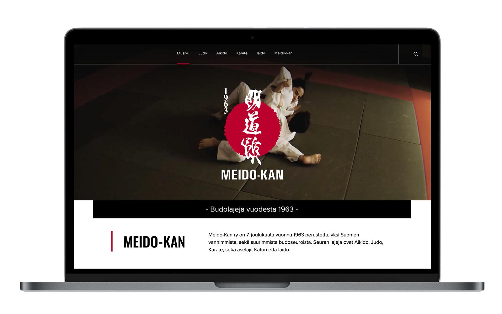 Meido-kan verkkosivuston aloitusnäkymä